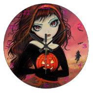 Autumn Fire Halloween Art Clock