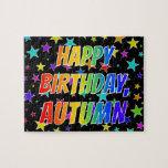 "[ Thumbnail: ""Autumn"" First Name, Fun ""Happy Birthday"" Jigsaw Puzzle ]"