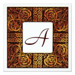 Autumn Flame Celtic Monogrammed Wedding Invitation