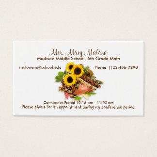 Autumn Floral Arangement Sunflowers Info Business Card
