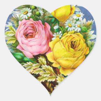 Autumn Floral Bouquet Watercolor Heart Sticker