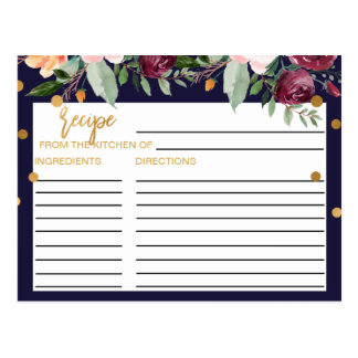 Autumn Floral Bridal Shower Recipe Cards