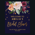 "Autumn Floral Bridal Shower Welcome Poster<br><div class=""desc"">This autumn floral bridal shower welcome poster is perfect for a fall wedding shower. The design features a stunning bouquet of blush, orange peach, and marsala burgundy flowers with faux gold foil typography and confetti. Customize the poster with the name of the bride-to-be, and the date and location of the...</div>"