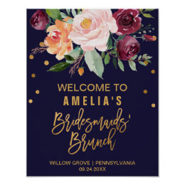 Autumn Floral Bridesmaids' Brunch Welcome Poster