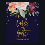 "Autumn Floral Cards and Gifts Sign<br><div class=""desc"">This autumn floral cards and gifts sign is perfect for a fall wedding or bridal shower. The design features a stunning bouquet of blush, orange peach, and marsala burgundy flowers with faux gold foil typography and confetti. The line of text at the bottom of the sign can be personalized with...</div>"