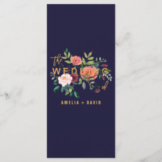 Autumn Floral Dinner Menu Card