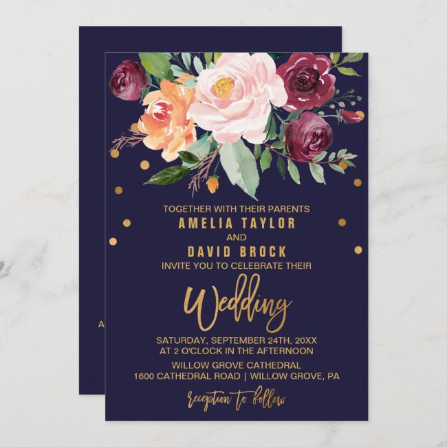 Autumn Floral Double Sided Wedding Invitation