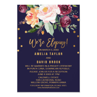 Autumn Floral Elopement Reception Card