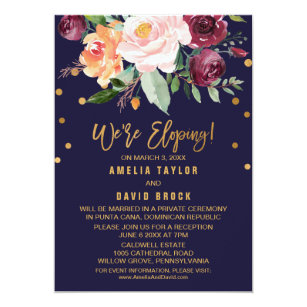 Autumn Fl Elopement Reception Invitation