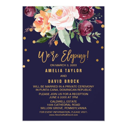 autumn floral elopement reception invitation zazzle com