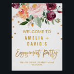 "Autumn Floral Engagement Party Welcome Poster<br><div class=""desc"">This autumn floral engagement party welcome poster is perfect for a fall wedding event. The design features a stunning bouquet of blush, orange peach, and marsala burgundy flowers with faux gold foil typography and confetti. Customize the poster with the name of the bride and groom to be, and the date...</div>"