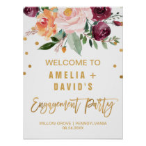 Autumn Floral Engagement Party Welcome Poster