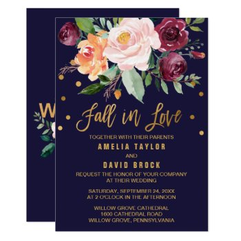 Autumn Floral | Fall In Love Wedding Card by FreshAndYummy at Zazzle