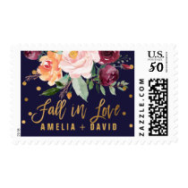 Autumn Floral Fall In Love Wedding Postage