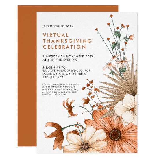 Autumn Floral Foliage Virtual Thanksgiving Dinner Invitation