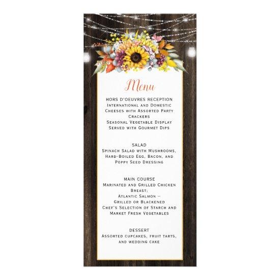 Autumn Floral Mason Jar String Lights Wedding Menu