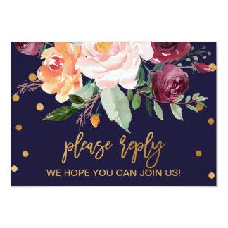 Autumn Floral Menu Choice RSVP Invitation