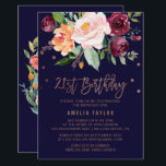 "Autumn Floral Rose Gold 21st Birthday Party Invitation<br><div class=""desc"">This autumn floral rose gold 21st birthday party invitation card is perfect for a fall birthday. The design features a stunning bouquet of blush, orange peach, and marsala burgundy flowers with faux rose gold foil typography and confetti. The backing features a gorgeous flower wreath which can be personalized with the...</div>"