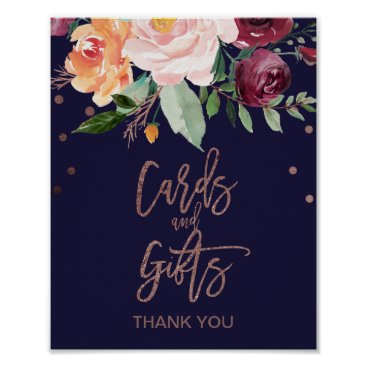 Art Themed Autumn Floral Rose Gold Cards and Gifts Sign