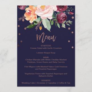 Autumn Floral Rose Gold Dinner Menu Card