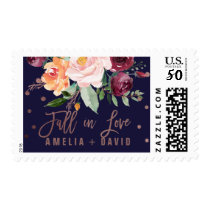 Autumn Floral Rose Gold Fall In Love Wedding Postage