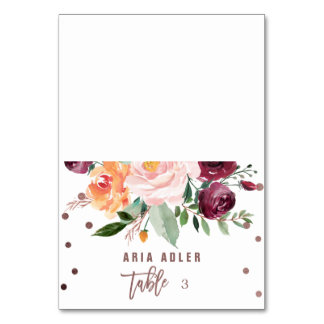 Autumn Floral Rose Gold Light Escort Place Cards