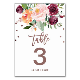 Autumn Floral Rose Gold Light Table Number