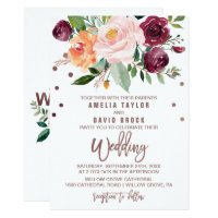 Autumn Floral Rose Gold Light Typography Wedding Invitation