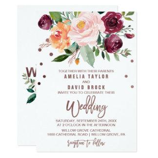 Autumn Floral Rose Gold Light Typography Wedding Invitation