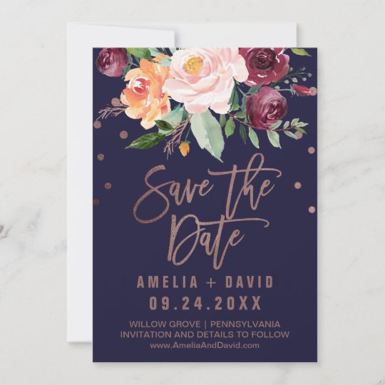 Save The Date Karte.Autumn Floral Rose Gold Save The Date Card