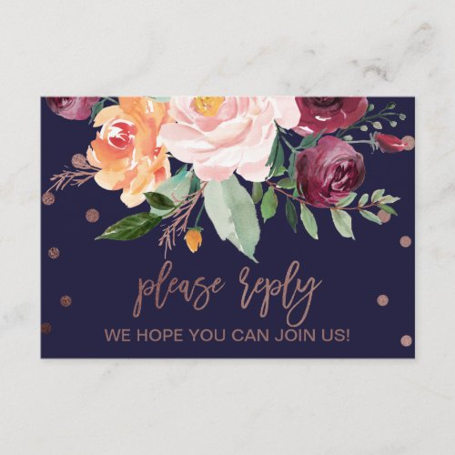 Autumn Floral Rose Gold Song Request RSVP Card