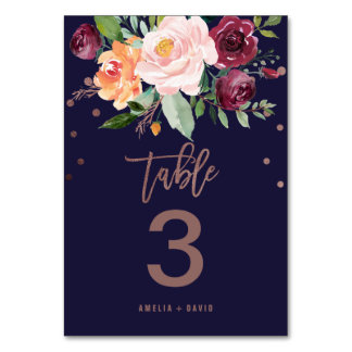 Autumn Floral Rose Gold Table Number