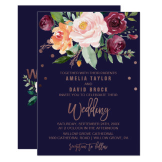 Autumn Floral Rose Gold Typography Backing Wedding Invitation