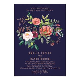 Autumn Floral Rose Gold Typography Wedding Invitation