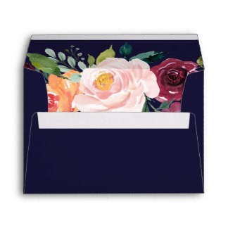 Autumn Floral Rose Gold Wedding Invitation Envelope