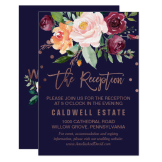 Autumn Floral Rose Gold Wedding Reception Insert Card