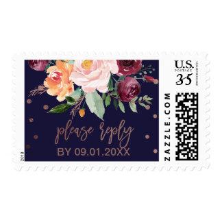 Autumn Floral Rose Gold Wedding RSVP Postage