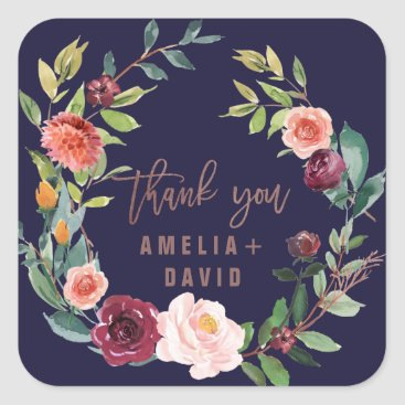 Bride Themed Autumn Floral Rose Gold Wreath Thank You Favor Square Sticker