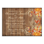 Autumn Floral Rustic Wood Fall Wedding Invitations at Zazzle