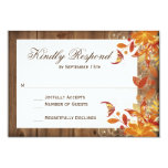 Autumn Floral Rustic Wood Fall Wedding Rsvp Cards at Zazzle