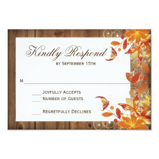 Autumn Floral Rustic Wood Fall Wedding RSVP Cards