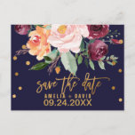 """Autumn Floral Save the Date Announcement Postcard<br><div class=""""desc"""">This autumn floral save the date postcard is perfect for a fall wedding. The design features a stunning bouquet of blush, orange peach, and marsala burgundy flowers with faux gold foil typography and confetti. Please Note: This design does not feature real gold foil. It is a high quality graphic made...</div>"""