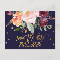 Autumn Floral Save the Date Announcement Postcard