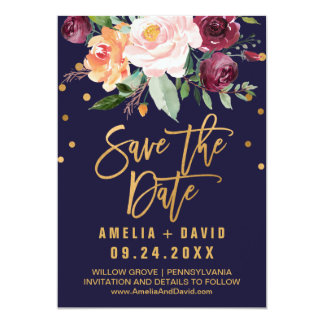Autumn Floral Save the Date Card
