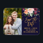 "Autumn Floral Save the Date Photo Magnet<br><div class=""desc"">This autumn floral save the date magnet is perfect for a fall wedding. Personalize the magnet with your favorite engagement photo,  your names,  wedding date and location.