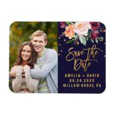 Autumn Floral Save The Date Photo Magnet at Zazzle