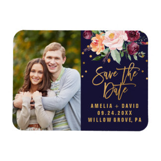 Autumn Floral Save the Date Photo Magnet