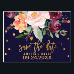 "Autumn Floral Save the Date Postcard<br><div class=""desc"">This autumn floral save the date postcard is perfect for a fall wedding. The design features a stunning bouquet of blush, orange peach, and marsala burgundy flowers with faux gold foil typography and confetti. Please Note: This design does not feature real gold foil. It is a high quality graphic made...</div>"