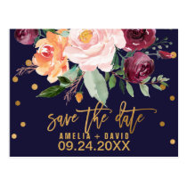 Autumn Floral Save the Date Postcard