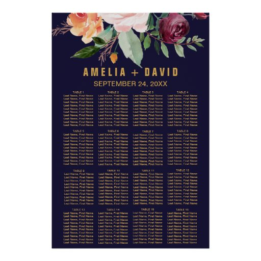 Autumn Floral Seating Chart